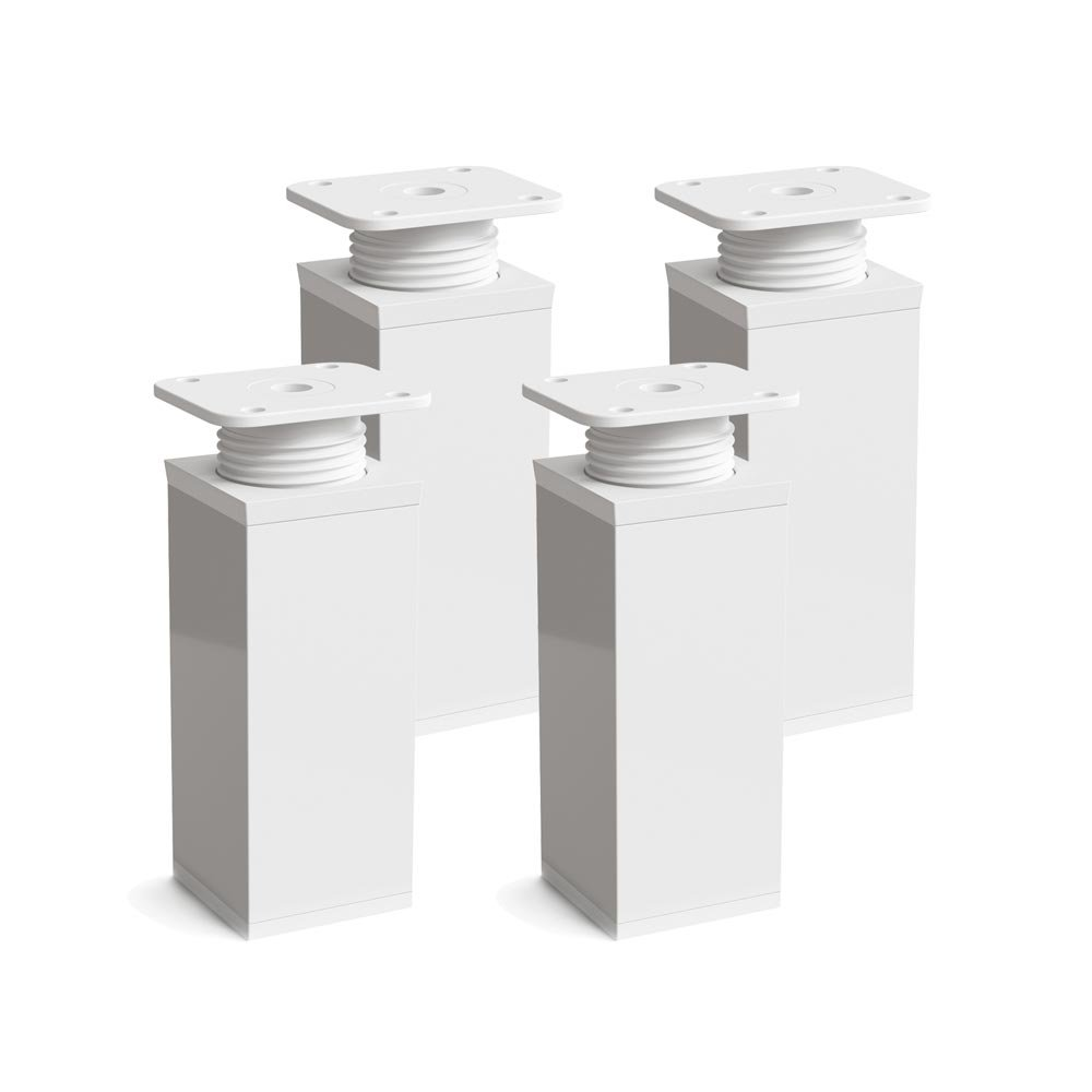 Design-Möbelfüße Doppelpack, 2 x 4er Set (8 Stück), höhenverstellbar | Vierkant-Profil: 40 x 40 mm | Sossai MFV1-WH | Farbe: Weiß | Höhe: 120mm (+20mm) | Material: Aluminium | Holzschrauben inklusive