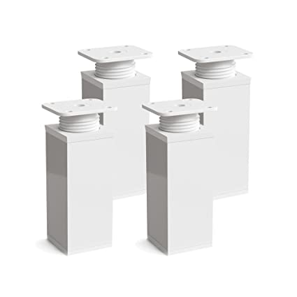 Patas para muebles, 4 piezas, altura regulable | Perfil cuadrado: 40 x 40 mm | Sossai MFV1-WH | Diseño: Blanco | Altura: 100mm (+20mm) | Tornillos ...