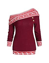 OCEAN-STORE T-Shirt for Women Cold Shoulder Pullover Striped Patchwork Sweatshirt Shirts Tops
