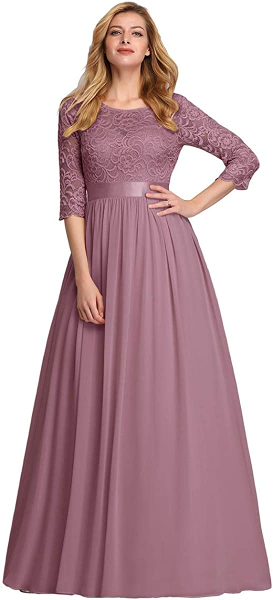 Ever-Pretty Women Elegant 3//4 Sleeve Empire Waist Maxi Bridesmaid Dresses 07412