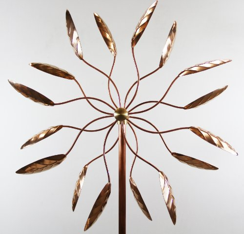 Stanwood Copper Kinetic Wind Sculpture, Spinning Ficus Leaves