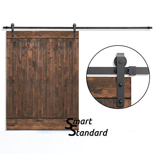 SMARTSTANDARD 10ft Sliding Barn Door Hardware (Black) (J-Shape Hangers)