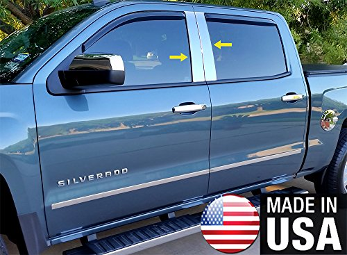 Cab Stainless Pillar Posts - Made In USA! Works With 2014-2018 Chevy/GMC Silverado/Sierra Double/Crew Cab 4PC Pillar Post Trim Kit
