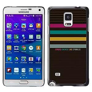 Caucho caso de Shell duro de la cubierta de accesorios de protección BY RAYDREAMMM - Samsung Galaxy Note 4 SM-N910 - Quote Text Kindness Pattern Pastel
