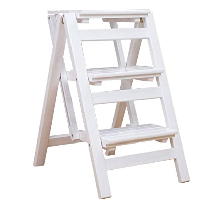 Cool Amazon Com Xsj Stepstools Folding Wood Ladder Stool Squirreltailoven Fun Painted Chair Ideas Images Squirreltailovenorg