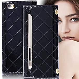 Plaid Pattern Leather With Metal Button Shiny Rhinestone Pouch Wallet Case For iphone 6 Mini Handbag Cover For iphone 6 4.7inch --- Color:white