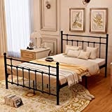 HOMERECOMMEND Metal Bed Platform Frame Box Spring Replacement Foundation with Headboards & Hevay Duty Steel Slats, Full