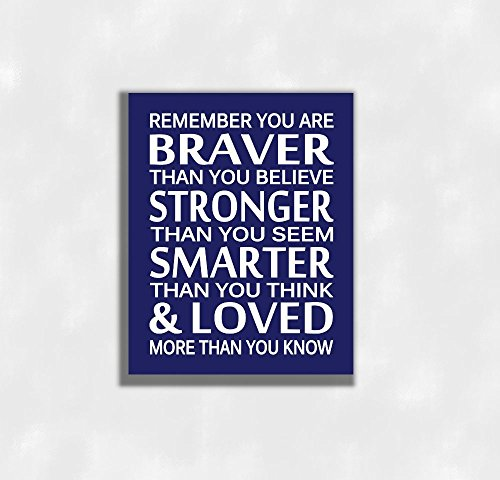 CANVAS Navy Blue Baby Boy Nursery Wall Art You Are Braver Stronger Smarter Inspirational Prints Baby Nursery Decor