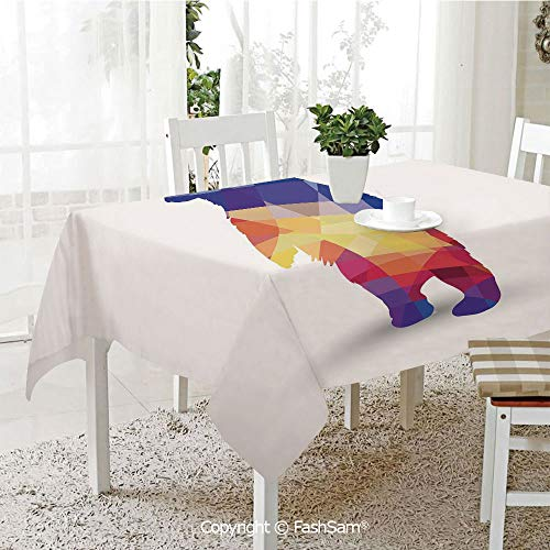 AmaUncle 3D Print Table Cloths Cover Silhouette of Wild Bear with Geometric Fractal Shapes Colorful Origami Inspired Table Protectors for Family Dinners (W55 xL72) -