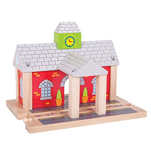Bigjigs Rail Wooden Railway Station - Other Major Rail Brands are Compatible - Train Station