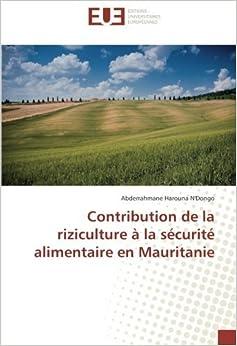 Contribution de la riziculture à la sécurité alimentaire en Mauritanie