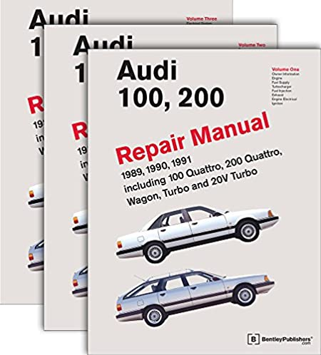 three volume set audi 100 200 repair manual 1989 1990 1991 rh amazon com 2004 audi s4 bentley repair manual bentley audi a6 repair manual download