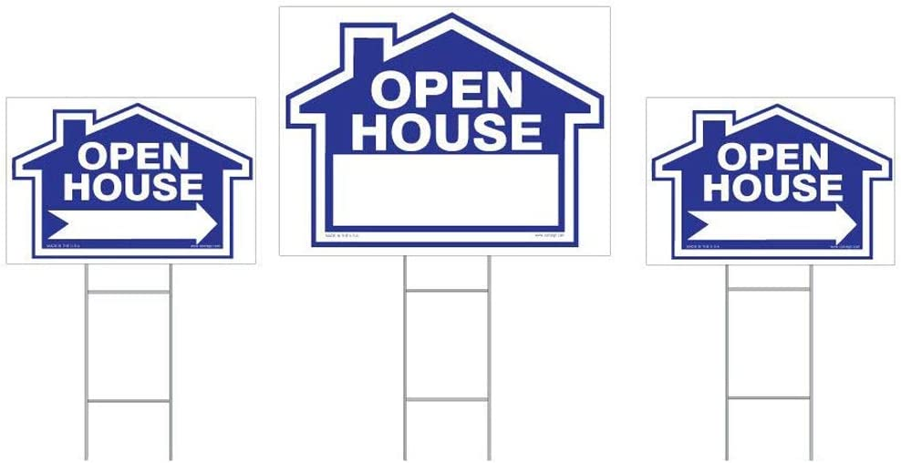 """3-Pack Open House Sign Kit - Double Sided Signs & H-Stakes - Blue Property Signs 18"""" X 24"""" and 12"""" X 18"""" – House Shaped - Directional Arrows – Professional Lawn Signs (Open House - Blue)"""
