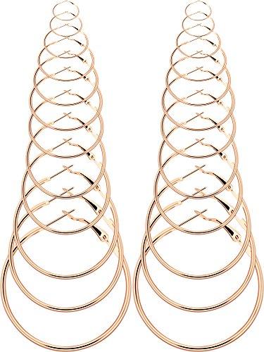 BBTO 12 Pairs Hoop Earrings Round Alloy Ear Piercing Hoops Set for Women Girls, 20-75 mm (Gold)