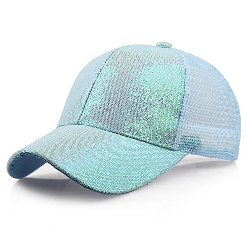 Unisex Fashion Sequins Cap Waterproof Breathable Packable Baseball Hat Outdoor Sun Protection Hiking Fishing Hat Blue (Snowman Unisex)