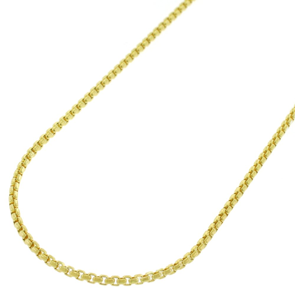 10k Yellow Gold 1.5mm Round Box Link Necklace Chain 16'' - 24'' (20) by In Style Designz