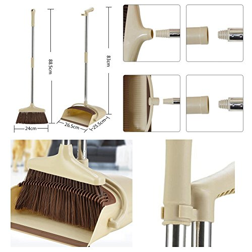 Kylin Express Durable Removable Broom and Dustpan Standing Upright Grips Sweep Set with Long Handle, D by Kylin Express (Image #1)