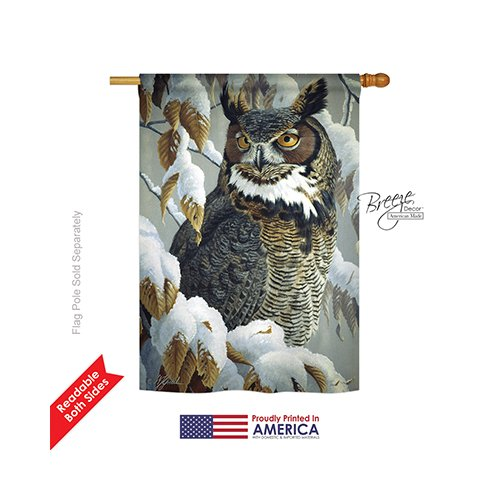 Breeze Decor - Great Horned Owl Garden Friends - Everyday Impressions Decorative Vertical House Flag 28