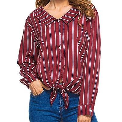 Bafaretk Womens Bow Striped Print T Shirt Lapel Neck Button Down Blouse Long Sleeve Tops