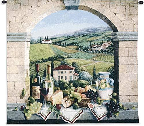 Vino de Tuscany by Barbara R. Felisky | Woven Tapestry Wall Art Hanging | Tuscan Villa Arch Wine and Grape Still Life | 100% Cotton USA Size 52x44