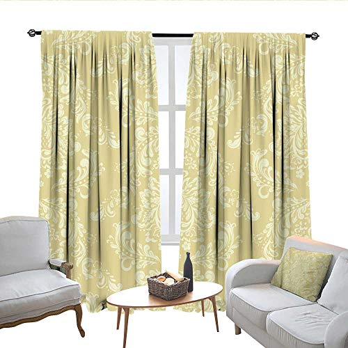 - QianHe Room Darkening Curtains for Bedroom Vectorf Loral Wallpaper Baroque Style Drapes Panels W72 x L72