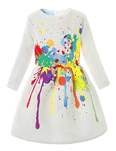 - 21KIDS Creative Art Colorful Paint 3/4 Sleeves Formal Easter Dress Print Summer Girls Casual Dresses,6,Long Sleeve(with Lining)