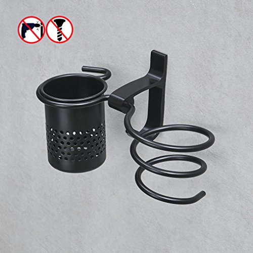 BESy No Drill Hair blow Dryer Holder Spiral with Organizer Cup and Towel Rack Stand,Drill Free Wall Mount,Bathroom Washroom Accessories Storage Organizer for Counter,Black Aluminum Set