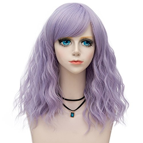 (Probeauty Raddict Collection 45cm Lolita Shoulder Length Curly Pastel Ombre Hair Synthetic Cosplay Wig+Cap (Pastel Purple)