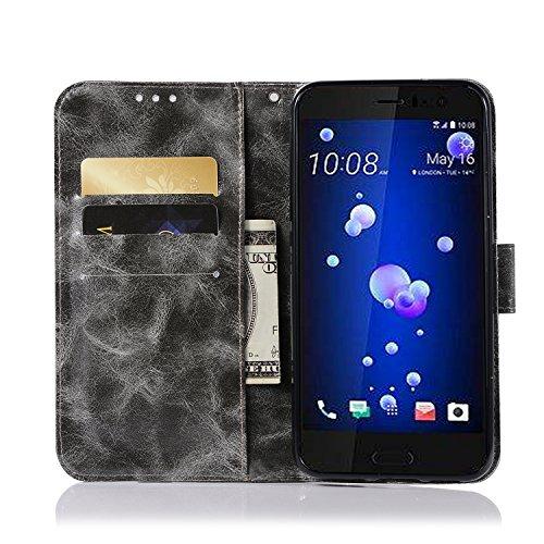 Funda HTC U11, SsHhUuJ Funda PU Piel Genuino Carcasa en Folio [Ranuras para Tarjetas] [Cierre Magnetico] con Acollador para HTC U11 (5.5) - Dorado Gris
