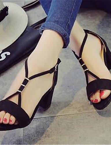ZQ Zapatos de mujer-Tac¨®n Robusto-Tacones-Tacones-Casual-PU-Negro / Gris , gray-us8 / eu39 / uk6 / cn39 , gray-us8 / eu39 / uk6 / cn39 black-us6.5-7 / eu37 / uk4.5-5 / cn37