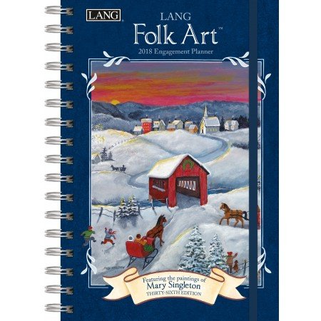 "LANG - 2018 Spiral Engagement Planner - ""LANG Folk Art"" - Artwork By Mary Singleton - 12 Month by Week or Month - 6.25"" x 9"""
