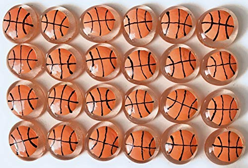 Jazzy Glass Gems, Hand Painted Set of 24, Party Favor, Decoration, Mosaic Tile, Crafts etc, Basketballs from Jazzy Glass Gems