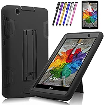 Windrew Heavy Duty rugged impact Hybrid Case with Build In Kickstand Protective Case For LG G Pad X 8.0 / LG GPad III 3 8.0 Inch Tablet + Screen Protector Film and stylus pen (Black / Black)