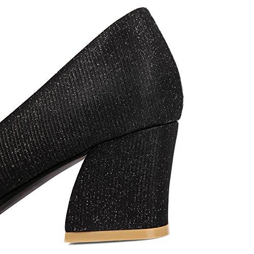 Balamasa Meisjes Dikke Hakken Pull-on Ronde Teen Geïmiteerd Lederen Pumps-schoenen Zwart