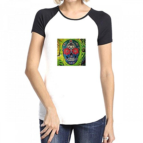 Dead Womens Raglan Hoodie - Fangeshi All Things Mexican Image Of Day Of Dead Skull Painted On Lime Green Door Women Raglan Short Sleeve T-Shirt