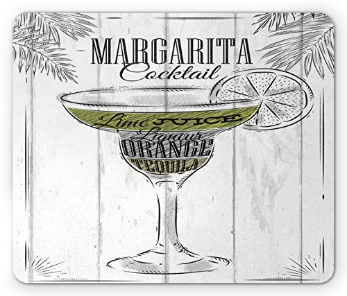 Ambesonne Cocktail Mouse Pad, Ingredients of Margarita Sketch Lime Juice Liqueur Orange and Tequila, Standard Size Rectangle Non-Slip Rubber Mousepad, Grey White Apple Green