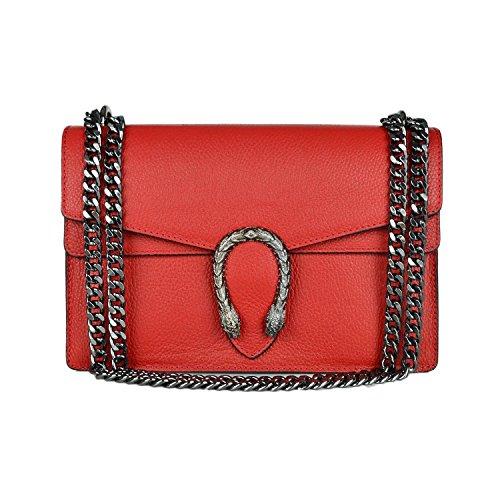 leather metal flap grained PEBBLE Red Mini super RACHEL cross pebble handbag leather shoulder chain Italian women's bag bag body SEnqqZP0