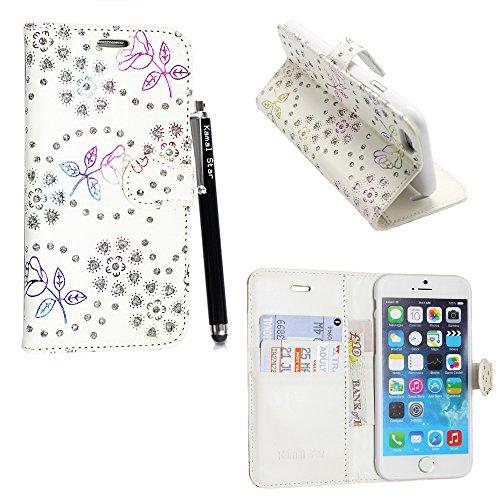 Kamal Star® Apple iPhone 6Plus/6S Plus (5,5) Rose weiß Diamant Buch PU Leder magnetische Case Cover + Eingabestift