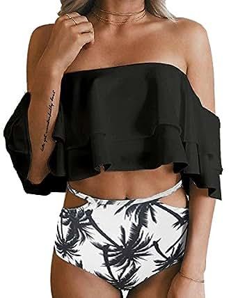 Tempt Me Women Two Piece Off Shoulder Ruffled Flounce Crop Bikini Top with Print Cut Out Bottoms Black S
