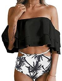 Women Two Piece Off Shoulder Ruffled Flounce Crop Bikini Top with Print Cut Out Bottoms