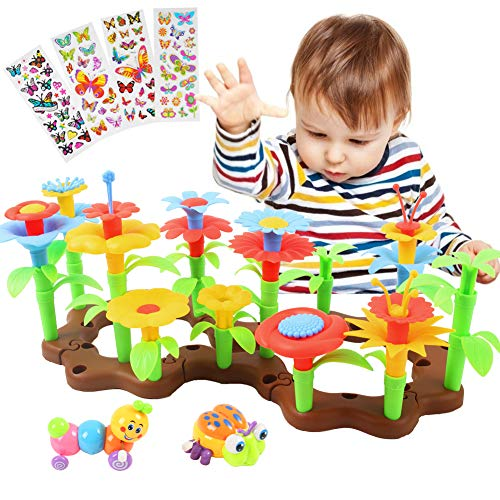 BigOtters Flower Garden Building Toys, 60PCS Stem Toy Educational Stacking Game Playset Gardening Pretend Gift for Girls