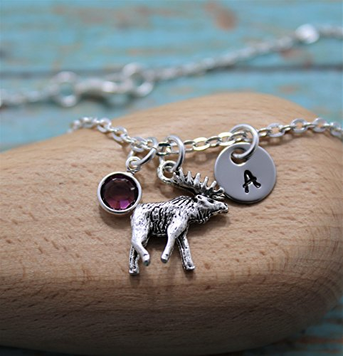 Moose Necklace - Moose Jewelry for Women & Girls - Personalized Initial & Birthstone - Fast Shipping