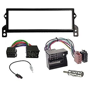 Marco embellecedor para radio 1 DIN incluye 2 cables ISO (redondo y plano) y 2 adaptadores de antena: Amazon.es: Coche y moto