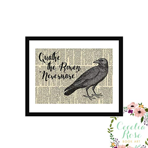 Edgar Allan Poe Quothe The Raven Nevermore Blackbird Halloween Farmhouse Literary Typography Vintage Book Page Word Art Quote Print-Wall Art-Gift 5x7 Unframed Print
