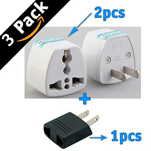 Generic Universal Power Plug Travel Converting Adapter Converting from EU/UK/CN/AU to USA(2PCS) (To Power Adapter Usa China)