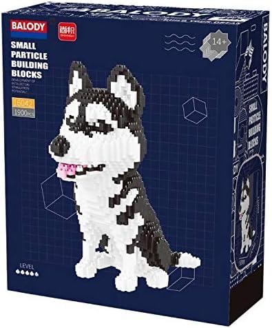 Husky 1900 pcs Nanoblock Dog Building Set - Your Very Own Mini Pet Companion Nano Block Kit - 14 Years Old and Up (Husky)