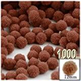 The Crafts Outlet 1,000-Piece Multi purpose Pom Poms, Acrylic, 12mm/about 0.5-inch, round, Light Brown