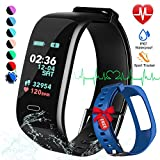 beitony Fitness Tracker, Color Screen Activity Tracker Watch with Blood Pressure Blood Oxygen, IP67 Waterproof Smart Band with Heart Rate Sleep Monitor Calorie Counter Pedometer for Men (B+BLUE3)