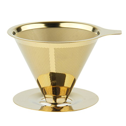 Reusable Coffee Filters, SOONHUA Pour Over Coffee Maker 18\8 (304) Stainless Steel Food Grade Paperless Cone Dripper Coffee Brewer