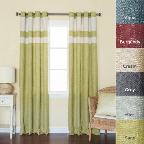 Best Home Fashion StripedHeavyweightTexturedFaux Linen Curtains - Antique Bronze Grommet Top - Sage - 52